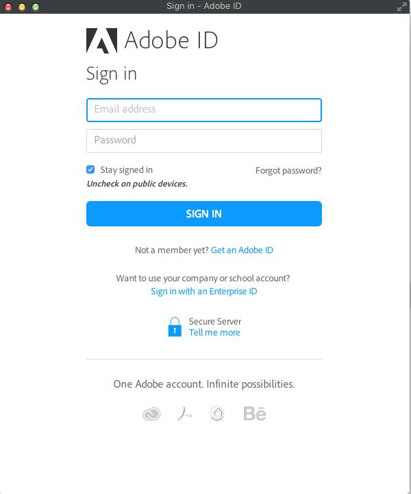 Окно входа/регистрации Adobe ID