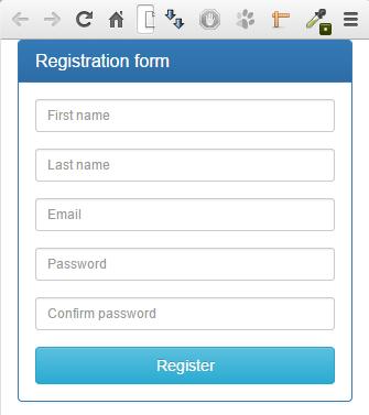 Форма регистрции с узменением размера