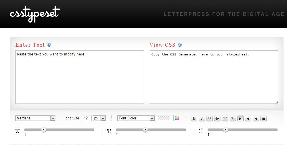 CSS Type Set