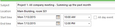 Формирование встречи для проекта